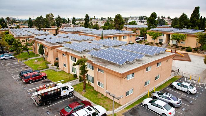Park Villas solar installation on rooftops of residential buildings