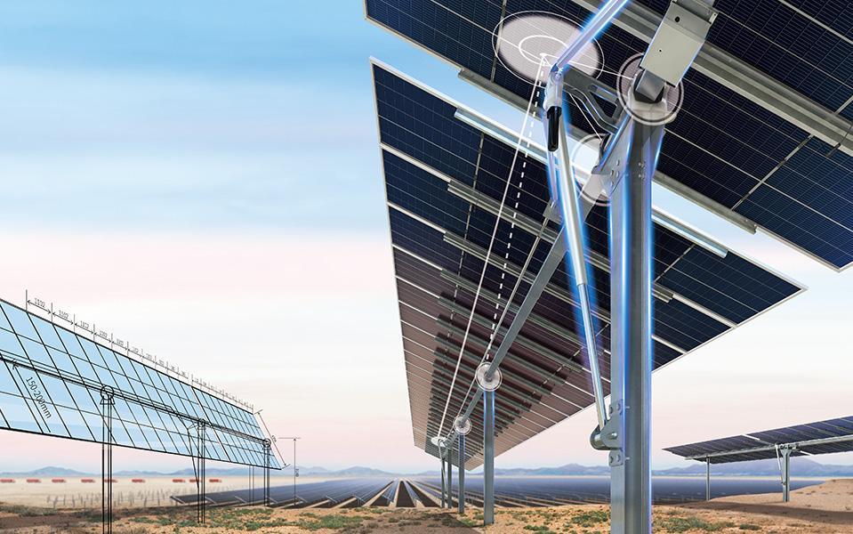 TrinaTracker rendering of tracker underneath solar panel
